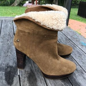 Never worn Ugg booties with shearling.